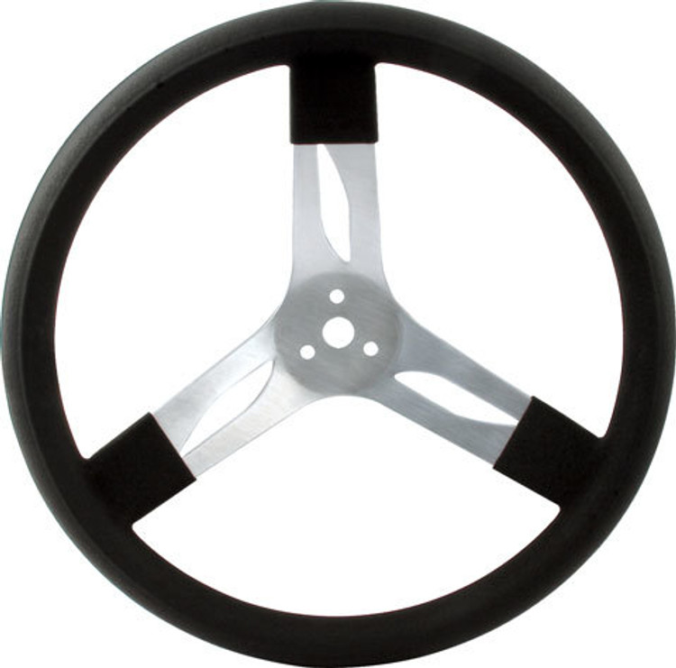 Steering Wheel - 17 in Diameter - 3 Spoke - 3 in Dish Depth - Black Rubber Grip - Aluminum - Natural - Each