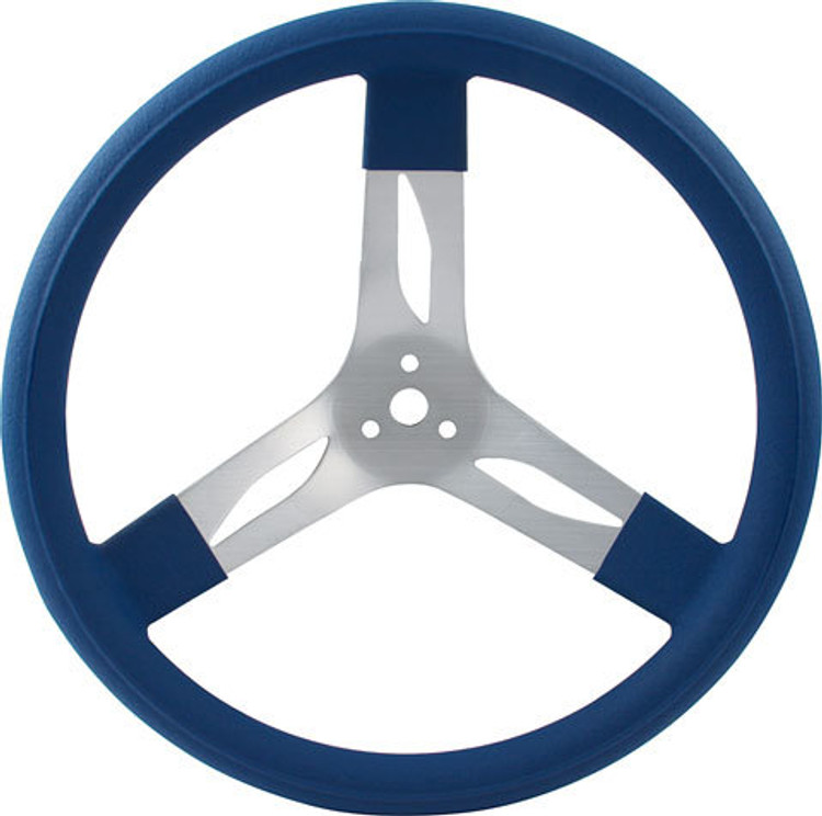 Steering Wheel - 17 in Diameter - 3 Spoke - 3 in Dish Depth - Blue Rubber Grip - Aluminum - Natural - Each