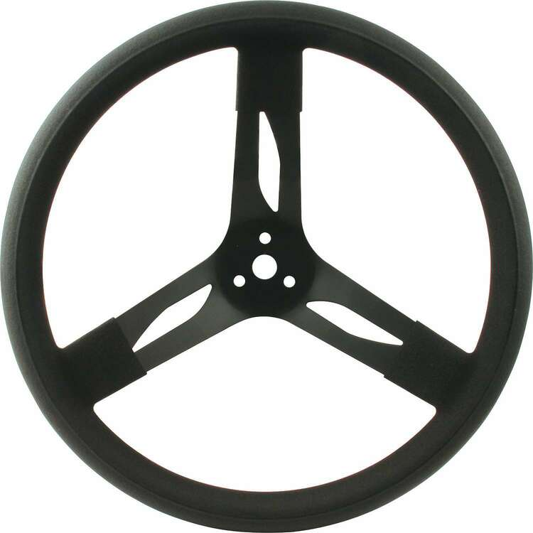 Steering Wheel - 15 in Diameter - 3 Spoke - 3 in Dish Depth - Black Rubber Grip - Steel - Black - Each