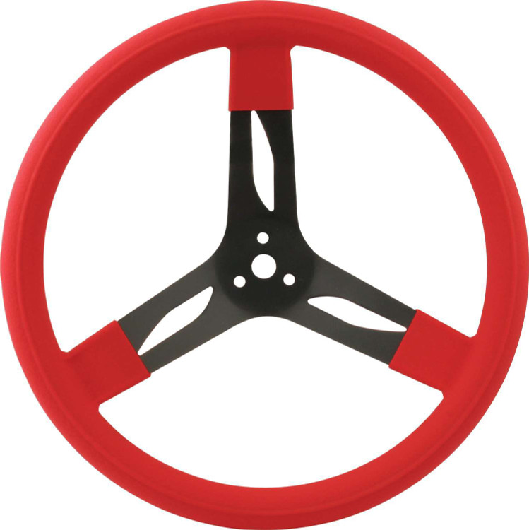 Steering Wheel - 15 in Diameter - 3 Spoke - 3 in Dish Depth - Red Rubber Grip - Steel - Black - Each