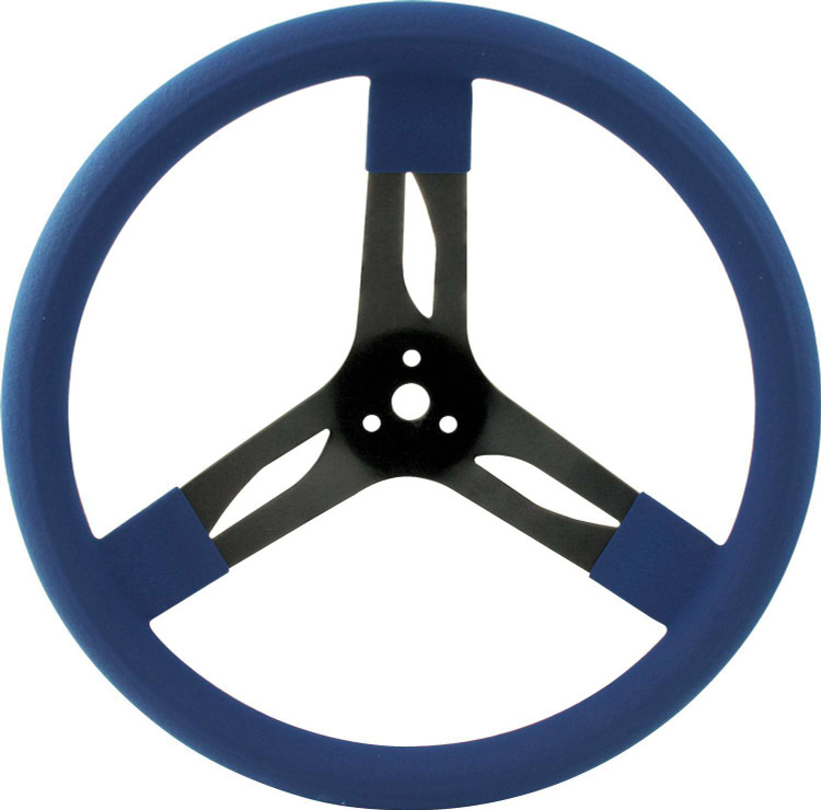 Steering Wheel - 15 in Diameter - 3 Spoke - 3 in Dish Depth - Blue Rubber Grip - Steel - Black - Each