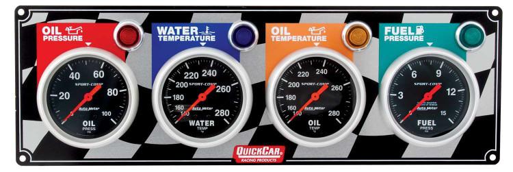 61-0301  -  Gauge Panel Assembly - Auto Meter Sport-Comp - Fuel Pressure/Oil Pressure/Oil Temp/Water Temp - Black Face - Warning Light - Kit