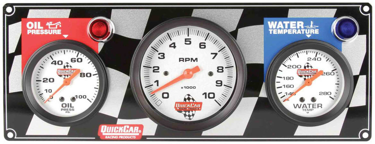 61-60313  -  Gauge Panel Assembly - Oil Pressure/Tachometer/Water Temp - White Face - Warning Light - Kit