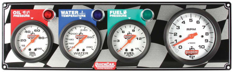 61-60423  - Gauge Panel Assembly - Fuel Pressure/Oil Pressure/Tachometer/Water Temp - White Face - Warning Light - Kit