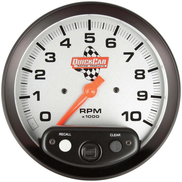 611-6001  -  Tachometer - 0-10000 RPM - Analog - 5 in Diameter - Memory - Silver Face - Each