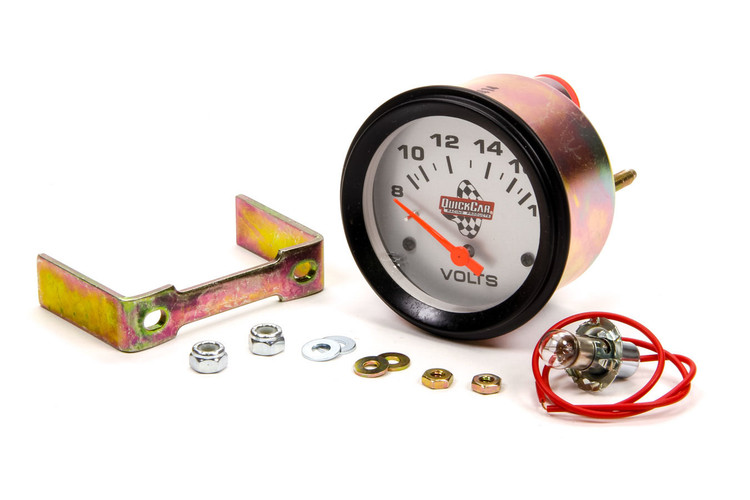Voltmeter - 8-18V - Electric - Analog - 2-5/8 in Diameter - White Face - Built In Warning Light