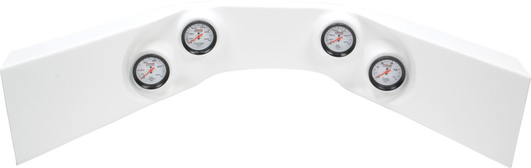 61-7024 - Fiberglass Molded Gauge Panel Assembly - Oil Pressure/Water Temp/Oil Temp/Fuel Pressure - White
