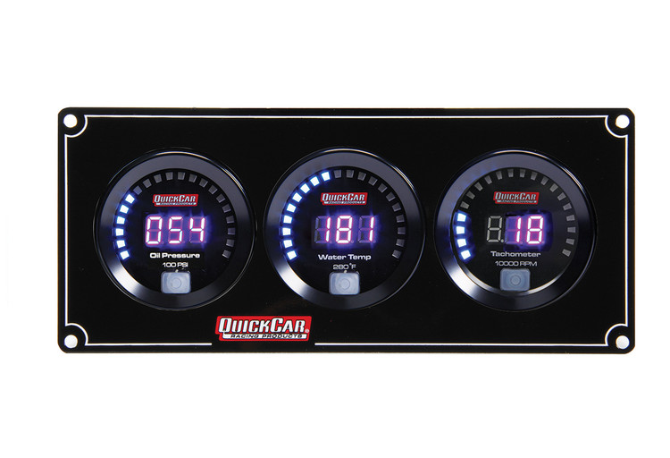67-2031 Digital 2-1 Gauge Panel OP/WT w/ Tach Quickcar Racing Products