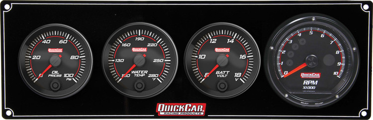 69-3047 Redline 3-1 Gauge Panel OP/WT/Volt w/ Recall Tach Quickcar Racing Products