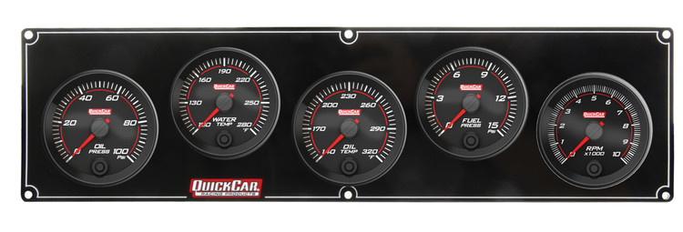 69-4251 Redline 4-1 Gauge Panel OP/WT/OT/FP w/ 2-5/8 Tach Quickcar Racing Products