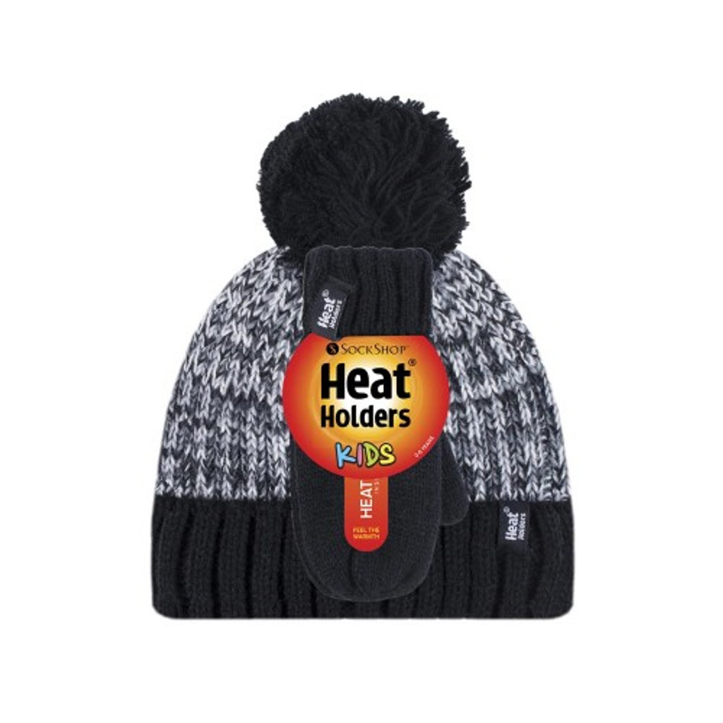 Boys Turn Over Hat with Pom Pom & Mittens-boys set