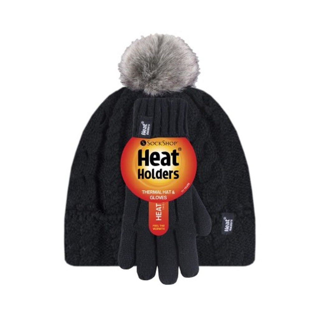 HEAT HOLDERS Girls Cable Turn Over Hat with Pom Pom & Gloves-girls set