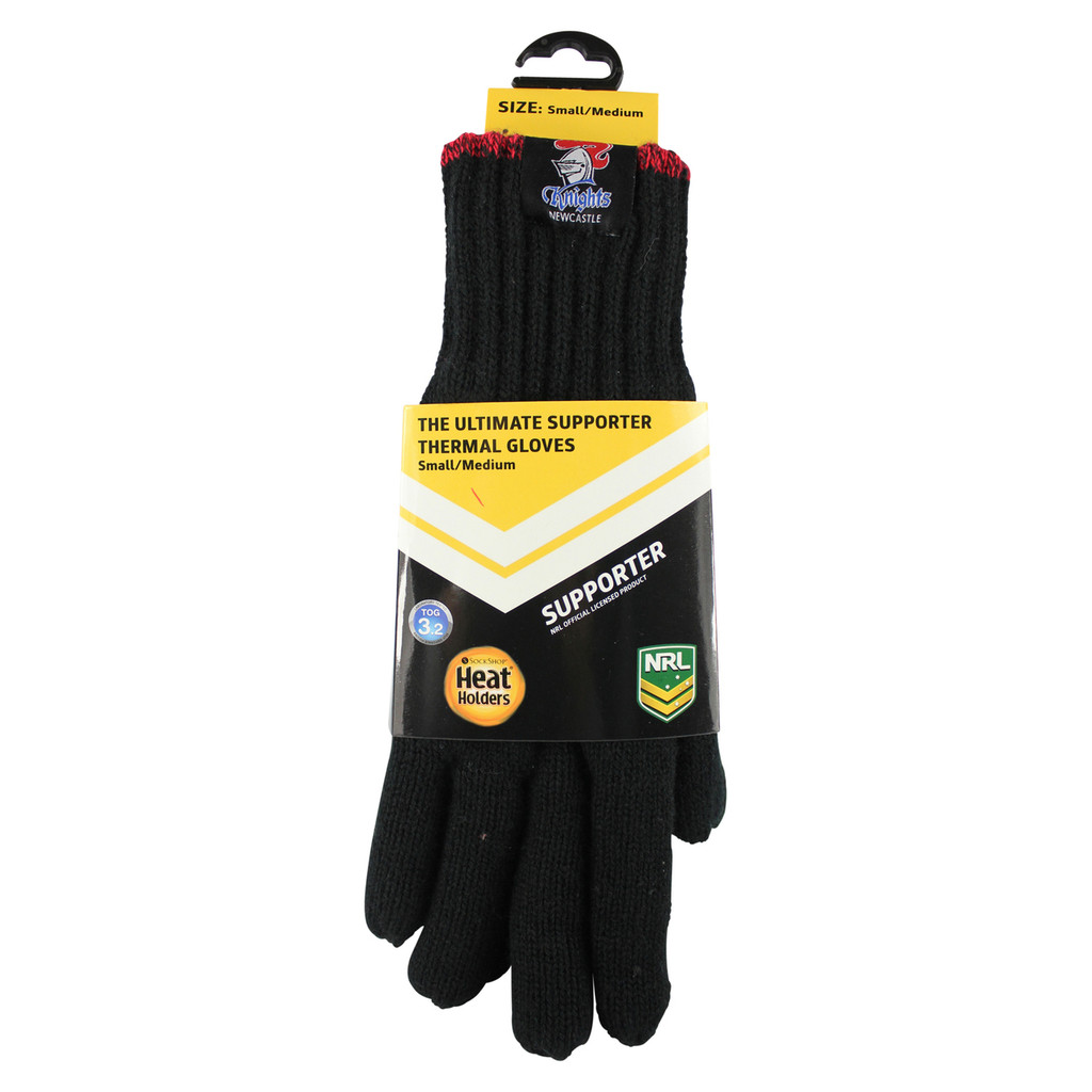 NRL Heat Holders Thermal Gloves Newcastle Knights