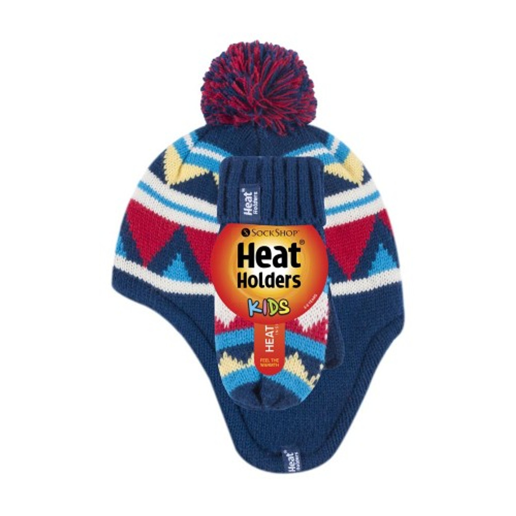 Heat Holders Boys Cosy Ears ThermalHat with Pom Pom & Mittens