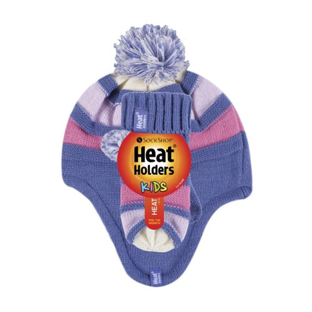 Heat Holders Girls Cosy Ears ThermalHat with Pom Pom & Mittens