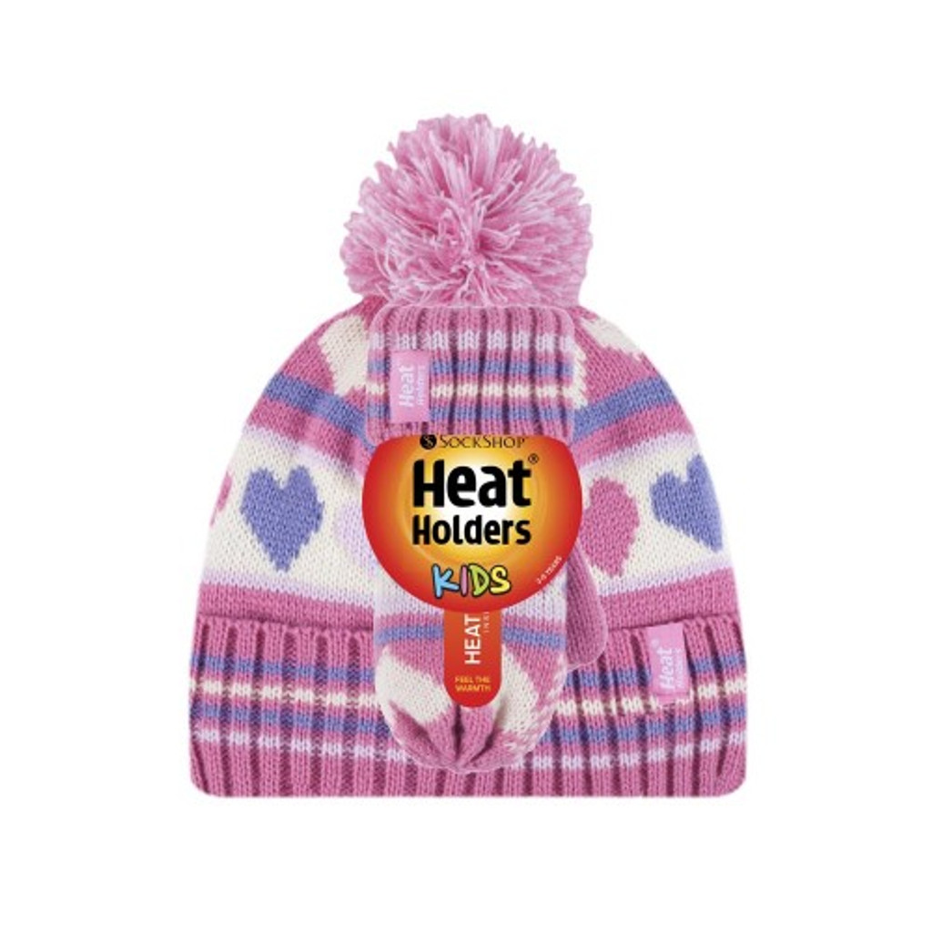 Heat Holders Girls Jacquard Thermal Hat with Pom Pom & Mittens