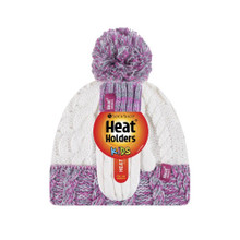 HEAT HOLDERS Girls Cable Turn Over Hat with Pom Pom & Mittens-girls set