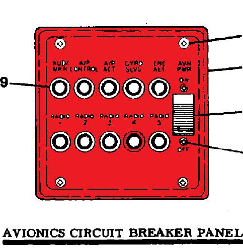 CESSNA 210M Panel Assembly - Avionics Circuit Breake P1270092-1, 1270092-1