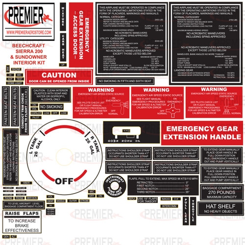 BEECHCRAFT 19, 23, 24 Interior Decal Kit 61002