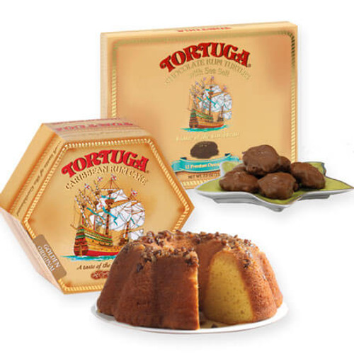 Tortuga 16oz Rum Cake and Chocolate Turtles Combo