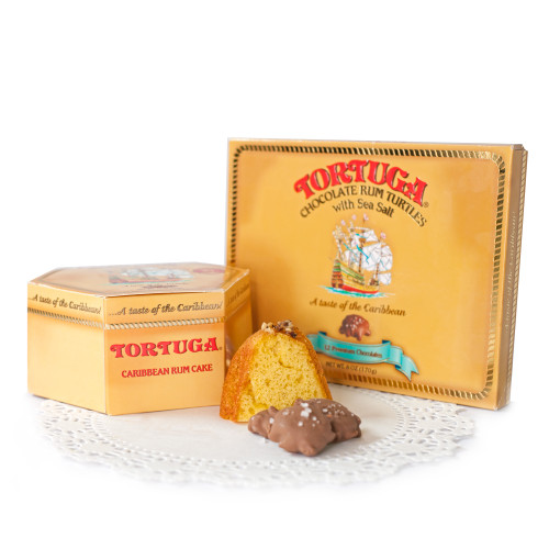 Tortuga 16oz Rum Cake and Chocolate Turtles Combo