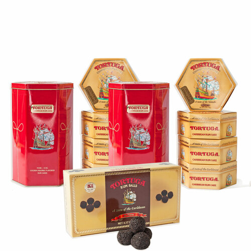 2 Tortuga Golden Original Cakes in a Decorative Themed Tin and Chocolate Rum Balls