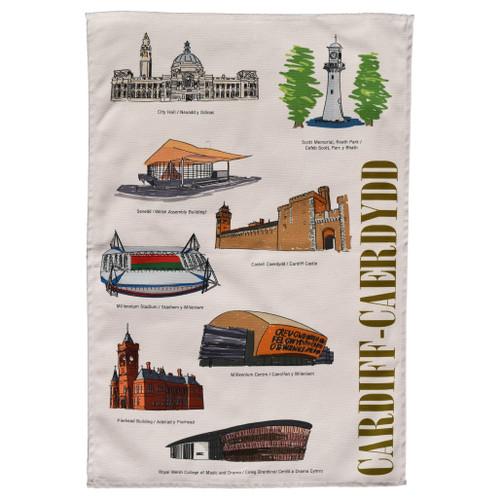 Cardiff Landmarks Tea Towel