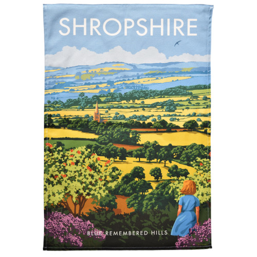 Shropshire Blue Remembered Hills Tea Towel