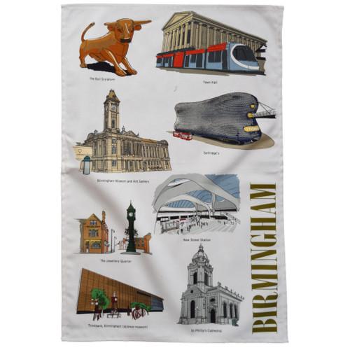 Birmingham Landmarks Tea Towel