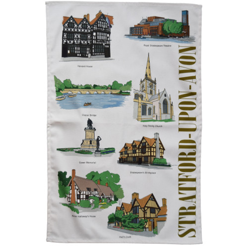 Stratford-upon-Avon Landmarks Tea Towel