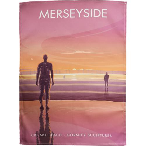 Merseyside - Crosby Beach, Gormley Sculptures tea towel