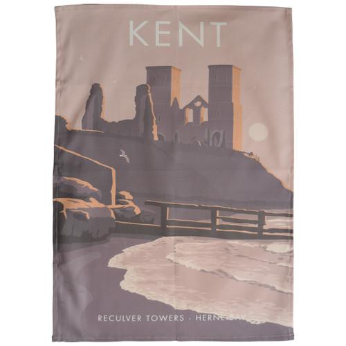 Kent - Reculver Towers tea towel