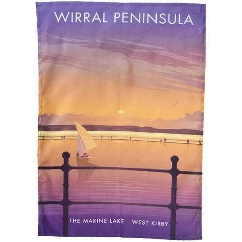 Wirral Peninsula - Marine Lake, West Kirby tea towel