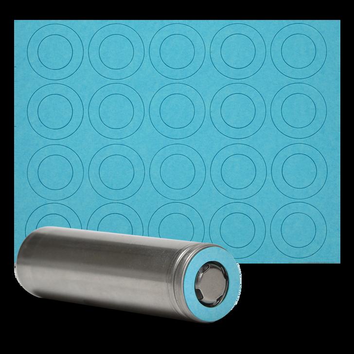 18650 Battery Terminal Insulators - 20pcs - Light Blue Paper