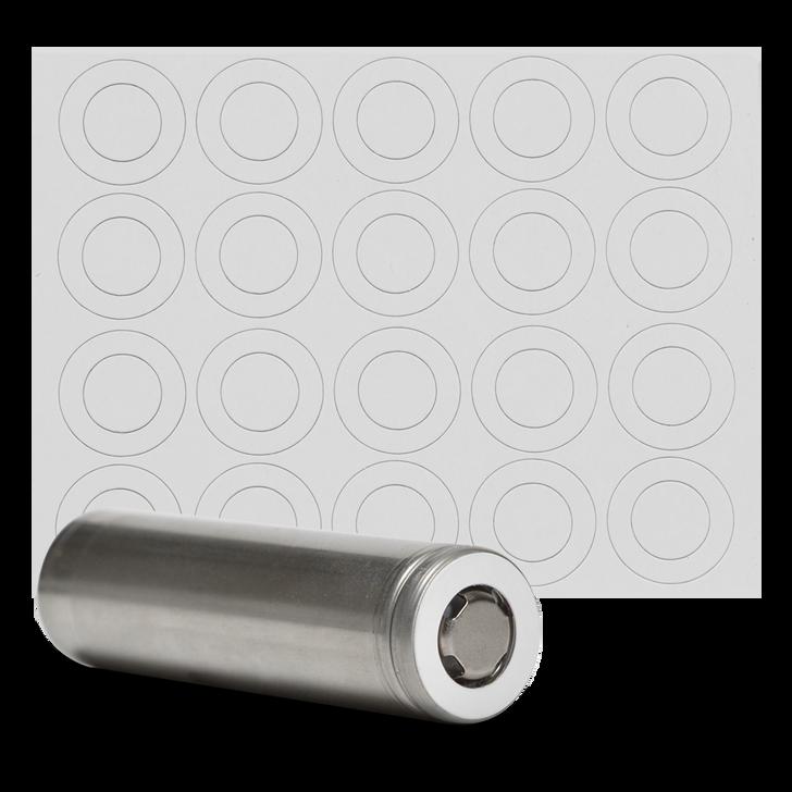 18650 Battery Terminal Insulators - 20pcs - White Paper