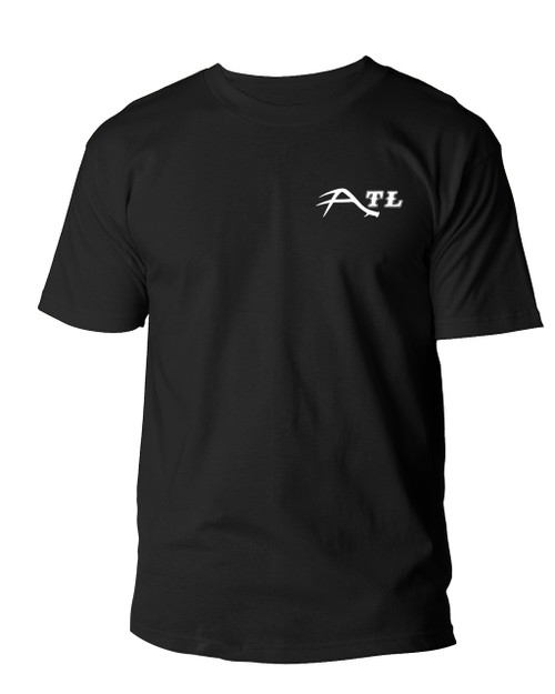 "FRONT DESIGN OF OUR VERY POPULAR ""ATL"" MULE DEER SHED LOGO T-SHIRT!"