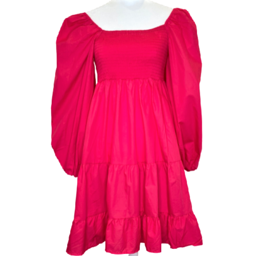 Solid Hot Pink Smocked Tiered Dress