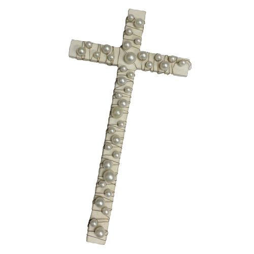 White Wood Cross with Pearls