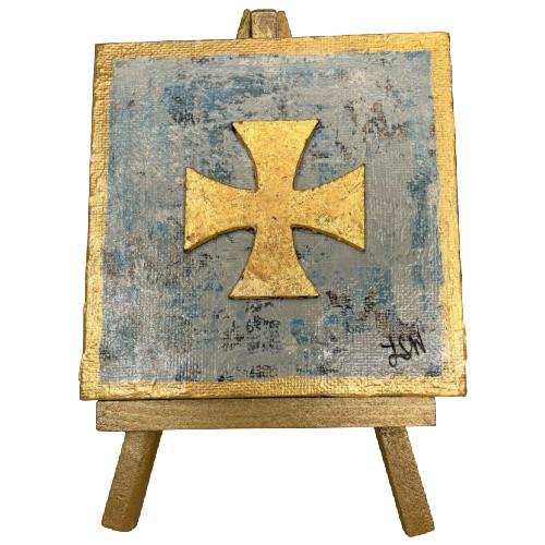 Blue & Gold Leaf Maltese Cross