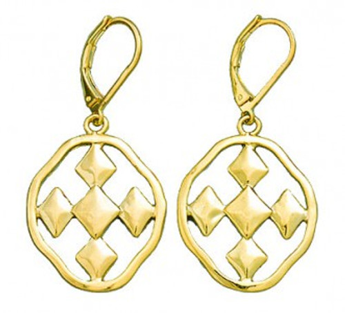 """Gold dangle earrings with 1"""" Shield of Faith emblems"""