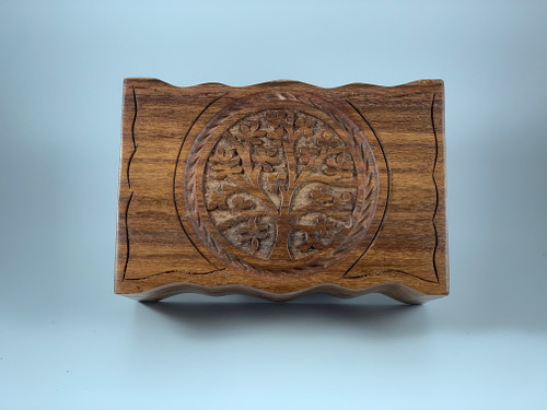 Carved Tree of Life Wood Trinket Tarot Card Box 4x6 Inches