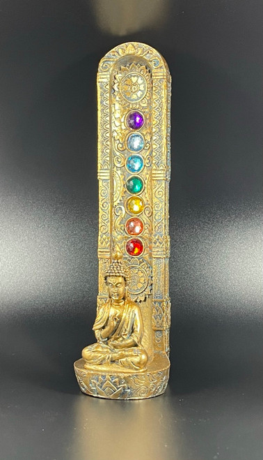 Golden Buddha 7 Chakra Tower Incense Burner Holder - Rainbow Gem Stones