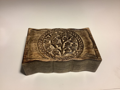 Carved Tree of Life Symbol Wood Tarot Deck Card Box 9 x 6 inches