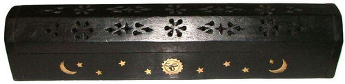 Black Wood Coffin Incense Burner Ash Catcher