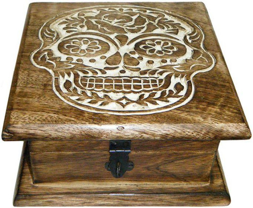 Sugar Skull Carved Jewelry Wood Chest Box
