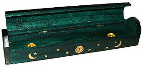 Green Coffin Style Incense Holder Burner
