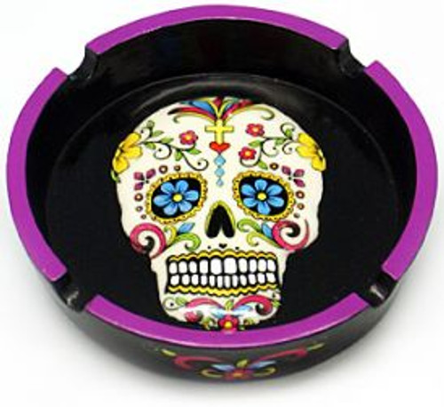 White Sugar Skull Day of the Dead Ashtray 6 Inches