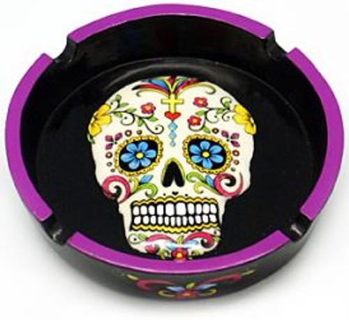 White Sugar Skull Day of the Dead Ashtray 6 Inches