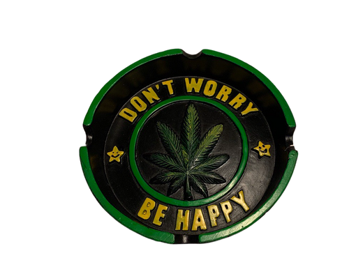 Don't Worry be Happy Leaf Design Ashtray