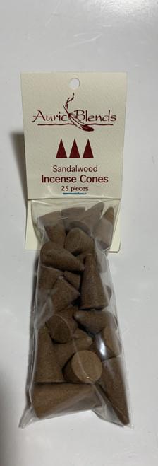 Sandalwood Auric Blends Incense Cones Bag of 25